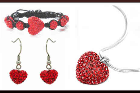 Lilly Nicole - Ruby Red Swarovski Elements Love Heart Tri Set - Save 88%