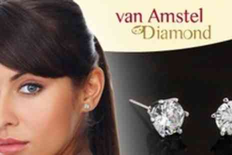 Van Amstel Diamond - One Pairs of Swarovski Crystal Sterling Silver Ear Studs - Save 64%
