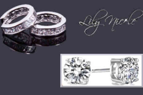 Lilly Nicole - Crystal Loop and Solitaire Stud Earrings - Save 82%