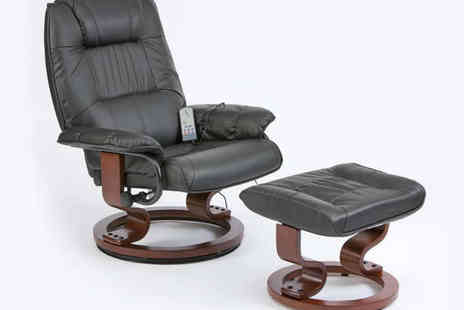 Grampian Furnishers - Restwell Napoli Massage Recliner Chair and Footrest in Black, Cream, Burgandy, or Brown - Save 50%