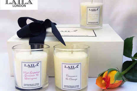 Laila London - Three Luxury Scented Candles in a Choice of Six Scents - Save 53%