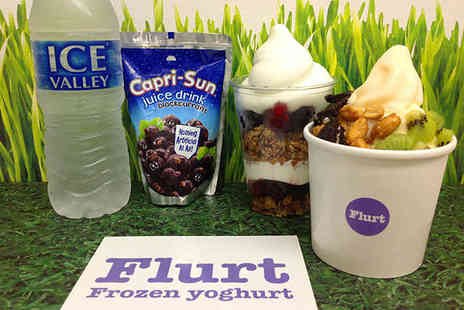 Flurt - Choice of Medium Fat Free Frozen Yoghurt with Three Standard Toppings or Fruit and Granola Parfait for Two People - Save 52%