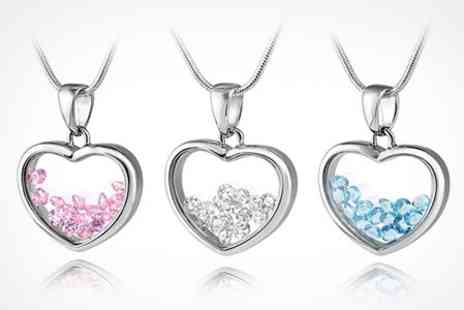 Silver Supermarket - Floating CZ Crystal Heart Necklace - Save 80%