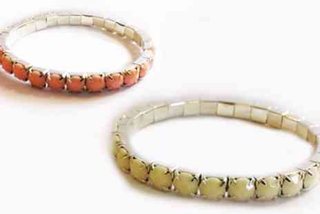 Lily Nicole - Two acrylic crystal tennis bracelets in cream and peach - Save 97%