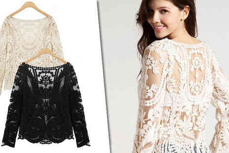 D Fashion - Look amazing in that classic needlework masterpiece with the Floral Lace Crochet Top - Save 64%
