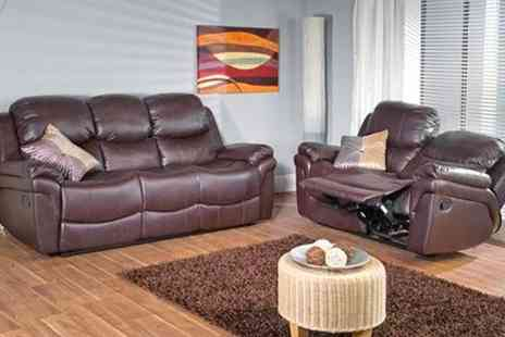 Comfy King - Kick back and relax with a brown leather recliner sofa set - Save 50%