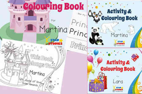 Star Stories - Personalised Activity Colouring In Book Birthday  Zoo or Princess Theme - Save 33%