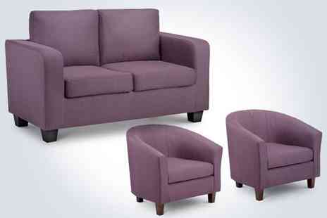 Comfy King - Get comfy on a plum faux leather two seater sofa bed and two fabric tub chairs - Save 41%