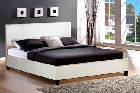 House of Wyndsor - Black or white Berlin faux leather double bed - Save 63%