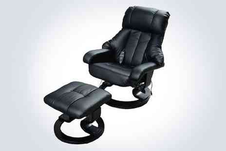 Aosom - Faux leather recliner massage chair with Ottoman footstool in black - Save 38%