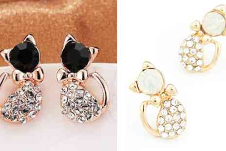 Wonder Gifts - Rhinestone cat earrings - Save 93%