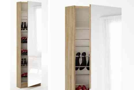 Fab Furnishing - Mirrored Shoe Storage Cabinet - Save 50%