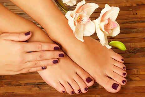 Edgy Nails - Shellac mani & pedi in a choice of colours - Save 61%
