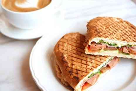 The Atrium Cafe - Panini, Toastie or Salad Plus Drink For Two - Save 53%