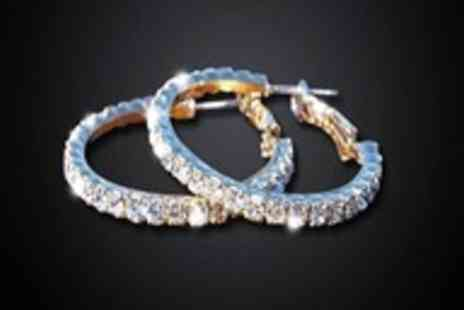 Russian Ice - Pair of Swarovski Elements embellished hoop earrings - Save 97%