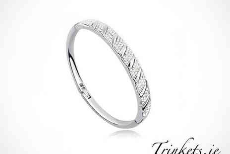 Trinkets - White Gold Plated Crystal Bangle - Save 67%