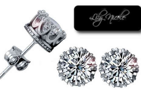 Lily Nicole - Silver Plated Crystal Crown Earrings made with Swarovski Elements - Save 86%