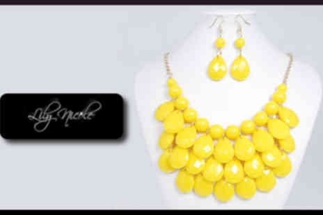 Lily Nicole - Drop Style Yellow Bubble Necklace And Earrings - Save 88%