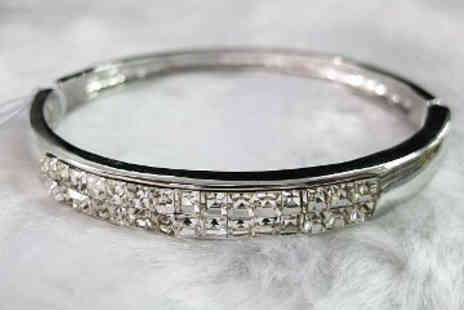 Lily Nicole - Silver Crystal Encrusted Bangle Made With Swarovski Elements - Save 77%