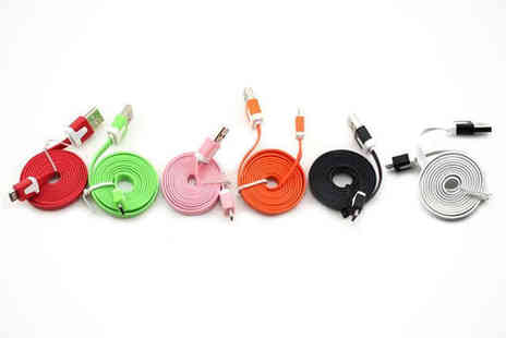 Electric Circle - IPhone 5 Cable in Choice of White Black Orange, Pink Lime Green or Red - Save 55%
