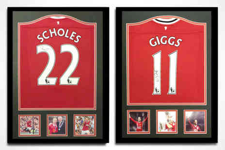 All Star Signings - Framed Manchester United Replica Shirt Signed by Ryan Giggs or Paul Scholes  - Save 53%