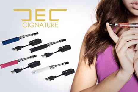 E Cignature - EGO electronic cigarette kit with a USB charging cable and 5 x bottles of E Liquid - Save 50%