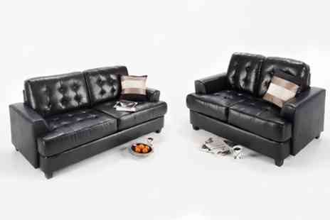 World of Sofa Beds - Cuba Two Piece Sofa Set in Black Brown or Cream - Save 70%