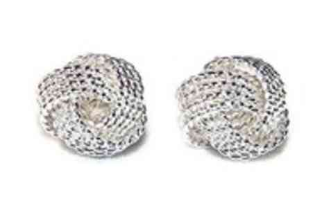 Simply Jewellery - Pair of silver knotted mesh stud earrings - Save 97%