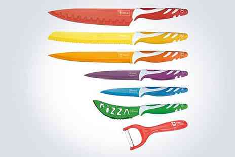 Electronic Deals 4 U - Seven piece Swiss Line stainless steel coloured knife set - Save 55%