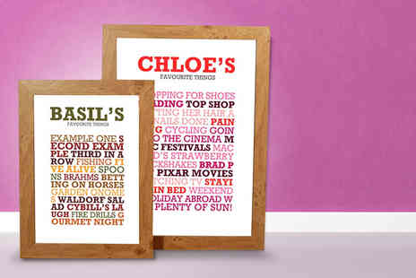 Find Me A Gift - A4 or A3 personalised favourite things poster - Save 47%