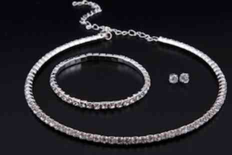 Clearest Crystal - Dazzling Tri Set Crystal Necklace Bracelet and Earrings Set - Save 88%
