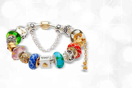 Diamond Forever - Murano glass and crystal charm bracelet - Save 88%