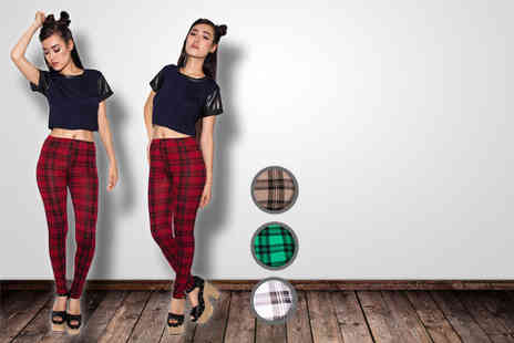 Daisy Street - Pair of tartan high waisted leggings in a choice of colours - Save 42%
