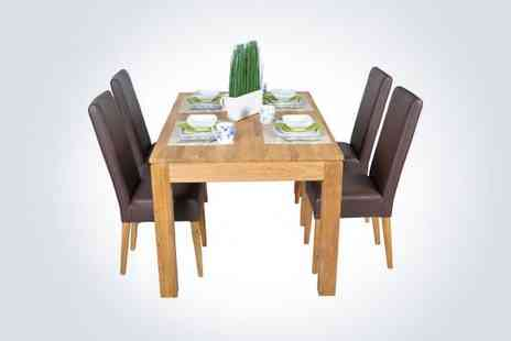 Funique Furniture - Dine in style with a solid oak extending dining table and four brown - Save 50%