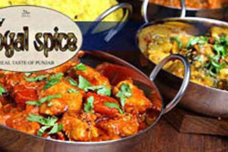 Royal Spice - 2 Course Meal for TWO Includes a starter platter to share and ANY Curry each - Save 62%