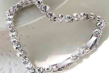 Clearest Crystal - Stunning High Sparkle Crystal Tennis Bracelet Made With Swarovski Elements - Save 85%