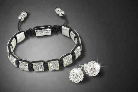 Nirbana Soul - Capella white Himalayan crystal bracelet and earring set - Save 72%
