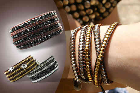 Lulu Pearls - Crystal or alloy & leather wrap bracelet with sterling silver button - Save 70%