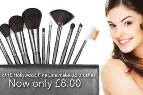 Ministry of Deals - Set of 10 Hollywood Fine Line make up Brushes - Save 73%