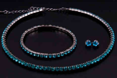 Lily Nicole - Swarovski Elements Blue Crystal Tri Set Necklace Tennis Bracelet and Earrings - Save 91%