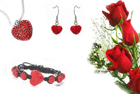 Edens Park - Embrace the warmth of the colour red with this stunning ruby shamballa tri set - Save 93%