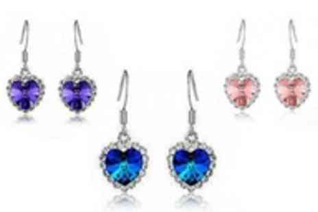 Simply Jewellery - Pair of Heart Earrings made with Swarovski Crystal Elements - Save 97%