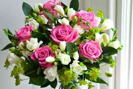 Debenhams Flowers - Pink rose & white freesia bouquet  - Save 50%
