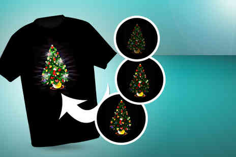 Christmas T Shirts - Light up LED unisex T shirt - Save 45%