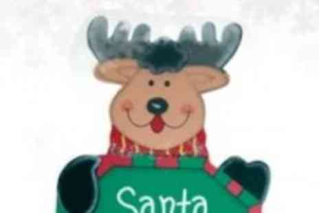 Xmas Decorations Car Boot - Reindeer Santa Stop Here Sign - Save 80%