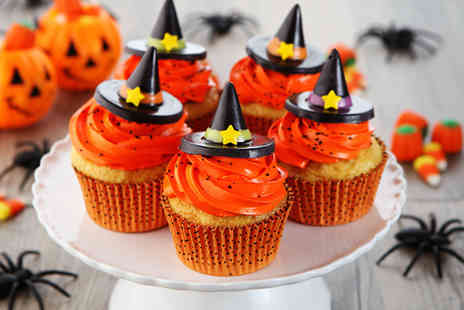 Curly Sues Cups N Cakes - Box of 12 vanilla Halloween cupcakes - Save 60%