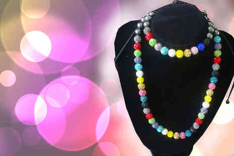 Wellbeing and Healthcare - Enjoy the magic of colour combinations with this trendy shamballa necklace & bracelet set - Save 62%