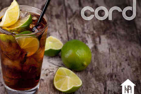Cord Bar - Two Hour Cocktail Masterclass for Two People with Refreshments upon Arrival - Save 60%