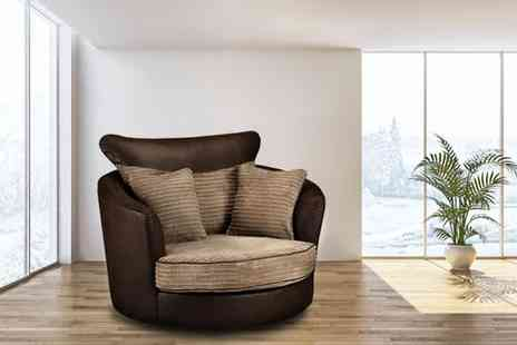 Comfy King - Settle into a brown and beige swivel cuddle chair - Save 50%