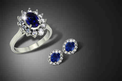 9 Stones Jewellery - Blue sapphire & zirconia ring or cluster earrings - Save 79%
